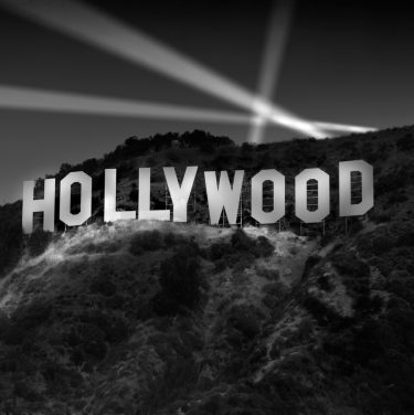 Hollywood Awaits! sign balck and white hollywood usa america