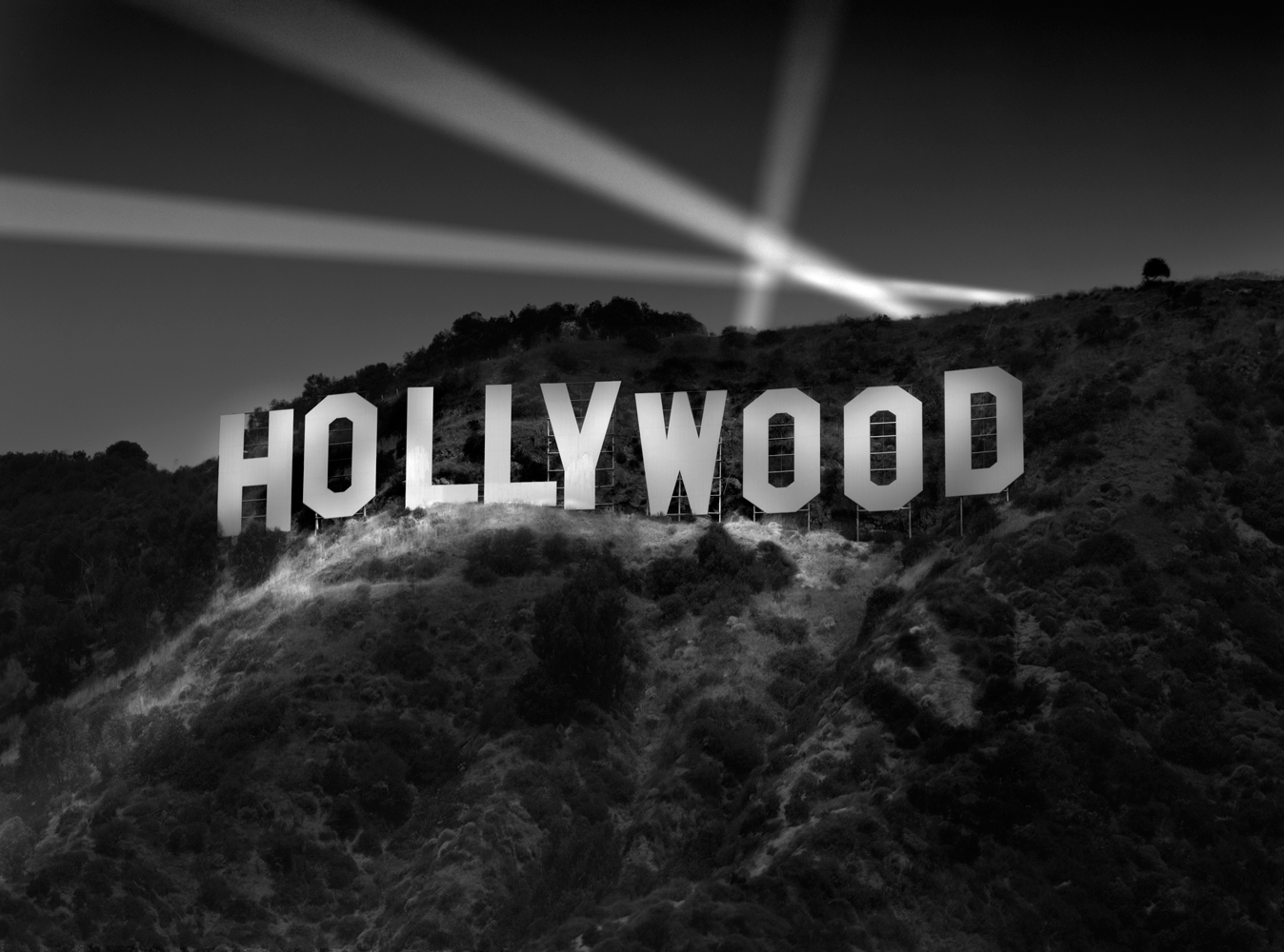 Hollywood Awaits! sign balck and white hollywood usa america
