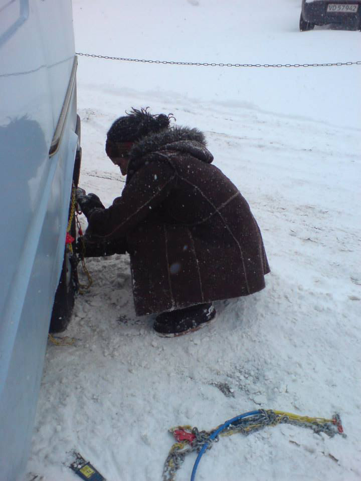 Fitting the Snow Chains!