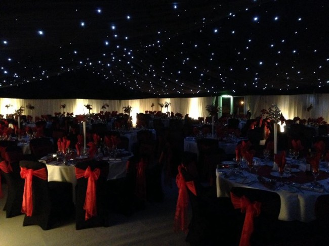 Accessories like Star cloths are fantastic party tent & marquee additions