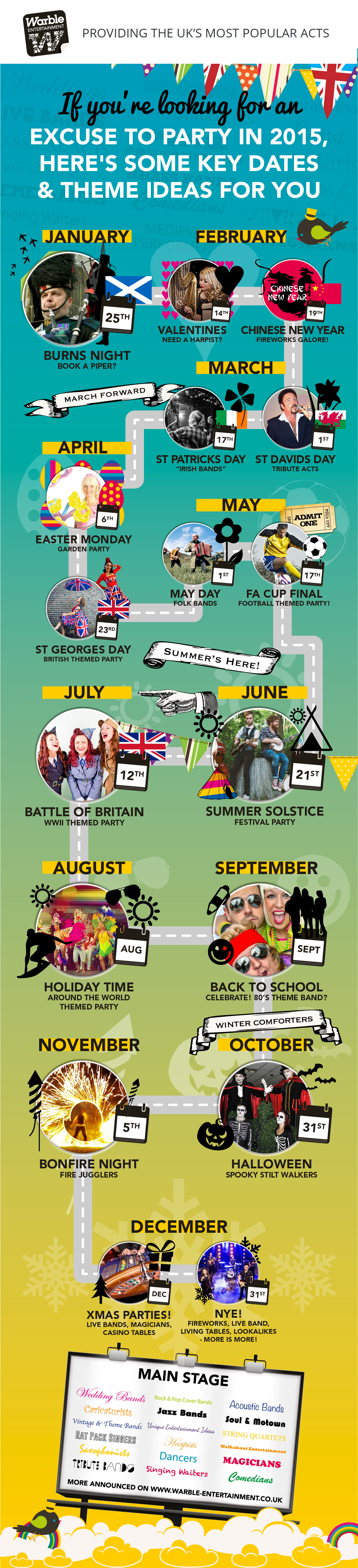 Warble Entertainment Infographic Events Calendar 2015