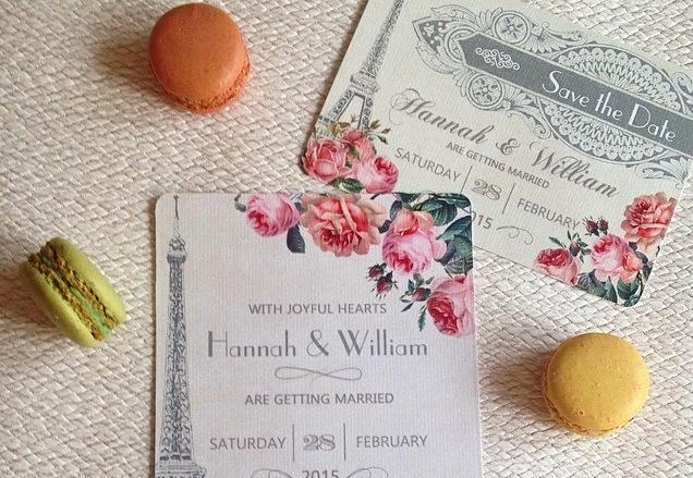 Parisian theme wedding invitation