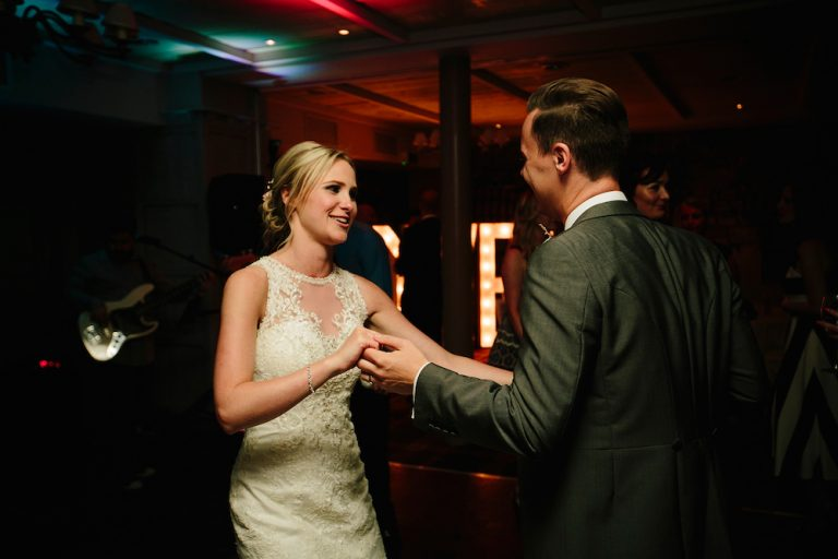 The Kickstarts Band Real Wedding Blog with Bride on the Dance Floor at Stanley House