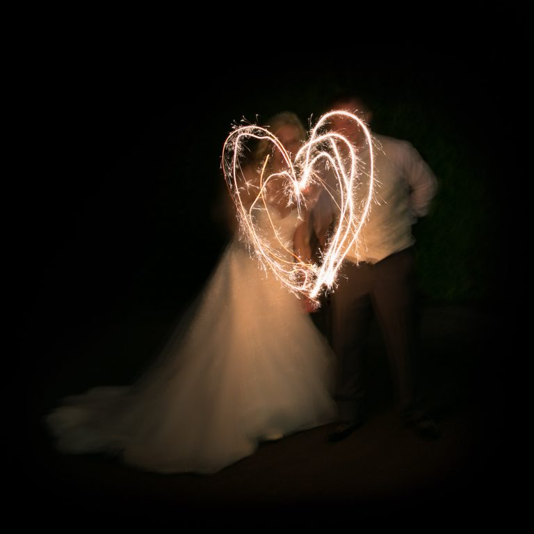 Real Wedding With Bride & Groom & Sparklers