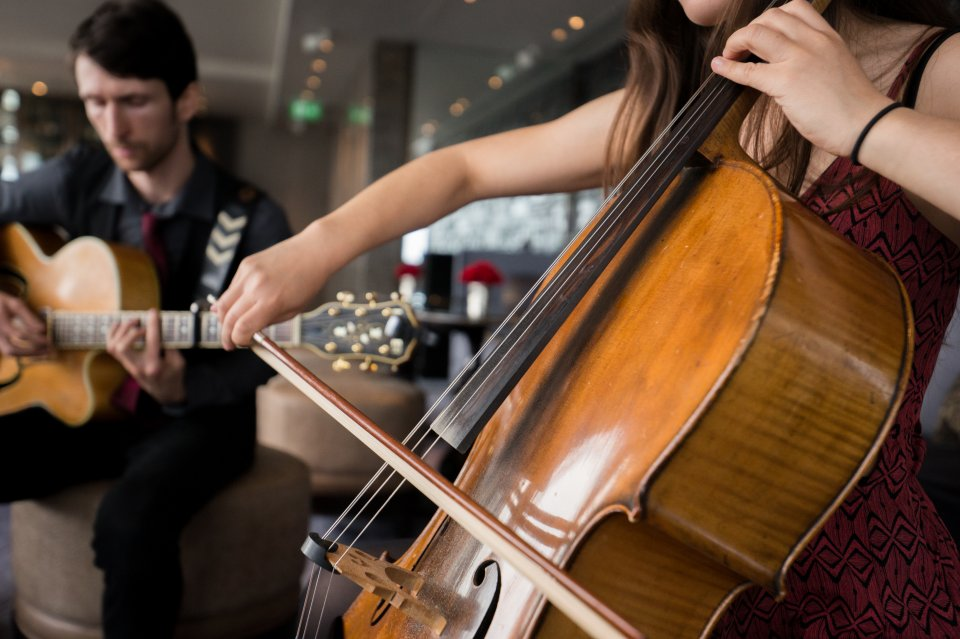 cello and acoustic guitar