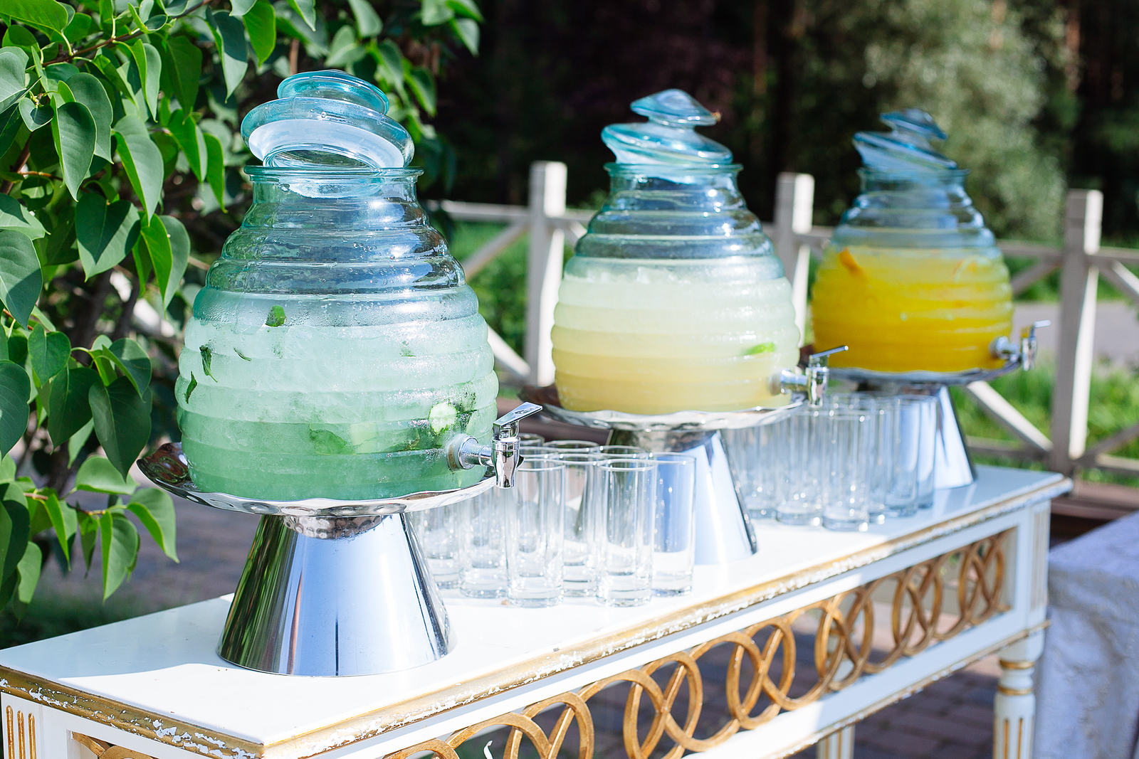 Row of crystal lemonade bowls. Served for a garden outdoor party or wedding