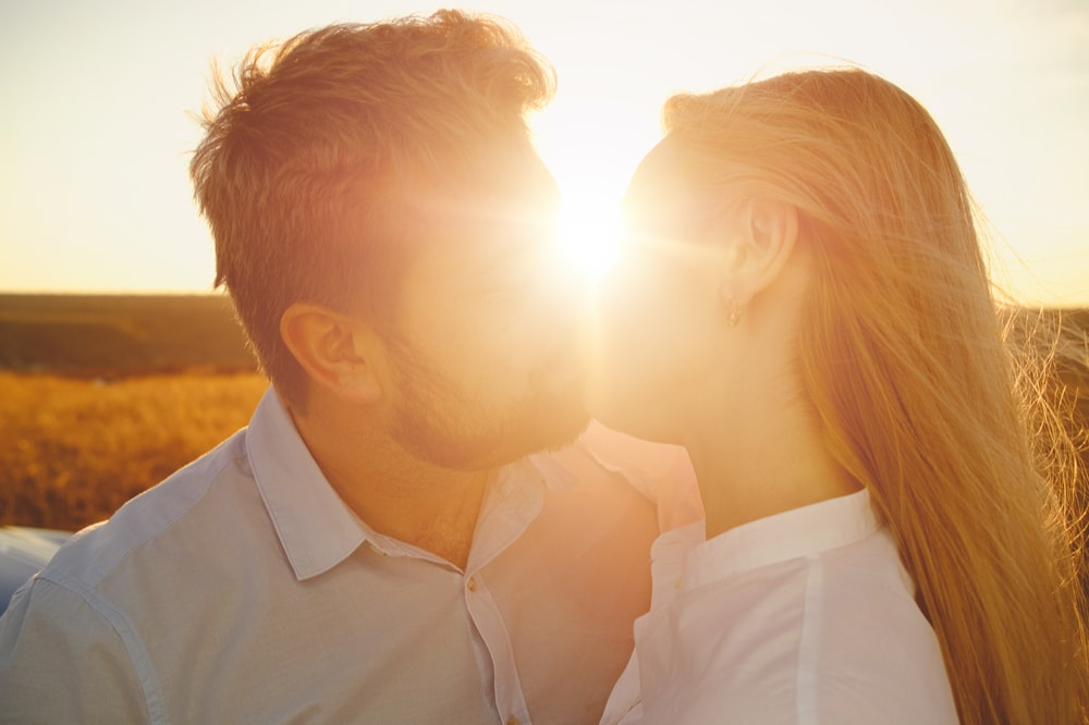 Sunset wedding proposal